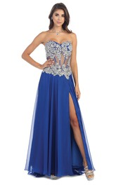 A-Line Crystal Split Front Long Sweetheart Chiffon Strapless Illusion Dress
