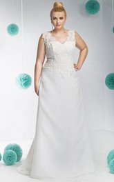 V-neck Sleeveless A-line plus size wedding dress With lace top