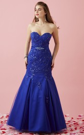 Sweetheart Lace Appliques Mermaid Prom Dress With Corset Back