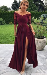 Off-the-shoulder Chiffon Lace Half Sleeve Ankle-length Prom Dress