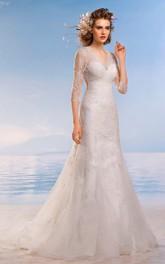Long-Sleeve Appliqued Floor-Length A-Line Lace Dress