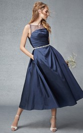 Scoop-neck Sleeveless Satin A-line Gown With Ruching