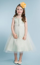 Tulle Broach Jeweled 3-4-Length Satin Flower Girl Dress