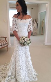 Off-the-shoulder Lace Bell Half Sleeve Wedding Dress