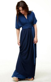 V-neck Bat-sleeve Floor-length Dress With bow