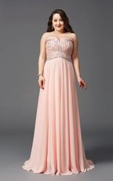 A-line Floor-length Sweetheart Sleeveless Chiffon Beading Pleats Backless Dress
