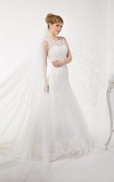 Wedding Illusion Lace-Up Back Lace Tulle Dress