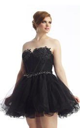 Sweetheart short Ruffled A-line Prom Dress With Appliques And Corset Back