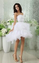 Crystals Ruffles Short Strapless Dress
