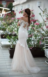 Off-the-shoulder Illusion Mermaid Tulle Dress With Appliques