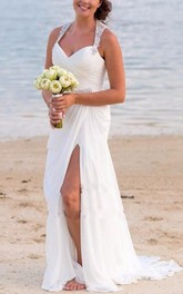 V-neck Chiffon  Sleeveless Wedding Gown