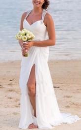 V-neck Chiffon  Sleeveless Wedding Gown