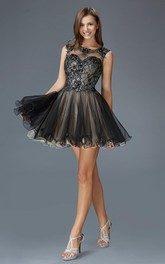 A-Line Keyhole Appliqued Lace Short Mini Sleeveless Bateau Tulle Dress