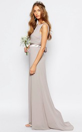 Scoop-neck Sleeveless Chiffon Dress With bow And Sweep Train