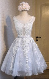 Jeweled A-Line Sleeveless New-Arrival Lace Short-Midi Dress
