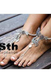 Western Style Bohemian Retro Indian National Exaggerated Flower Plate Drops Tassel With Anklets