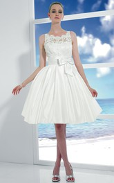 Scoop-neck Sleeveless short A-line Satin Dress With Appliques And bow