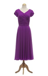 Tea-Length Ruched Waist V-Neckline Petal-Sleeve Gown