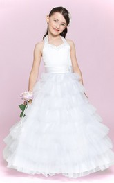 Princess Ruffled Skirt Halter Jewel Flower Girl Dress