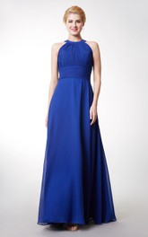 Floor-Length Key-Hole Back Ruched Halter Bridesmaid Dress