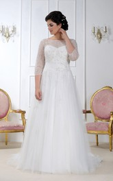 Bateau Illusion 3-4-sleeve A-line Tulle plus size wedding dress With Beading