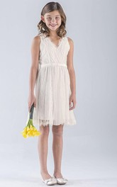 Pleated Tulle Midi V-Neckline Lace Empire Flower Girl Dress