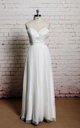 Tulle Pleated Illusion Back A-Line Jewel-Neckline Dress