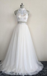 Sleeveless Jewel High-Neckline Two-Piece Tulle Dress
