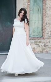Scoop-Neckline Cap Long A-Line Chiffon Short-Sleeve Gown