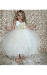 Tulle Floral Jewel Waist V-Neckline Beautiful Ball Gown