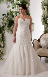 Sweetheart Mermaid Lace Appliqued Wedding Dress With Court Train And lace up