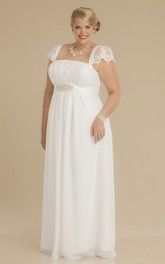 Chiffon Cap-sleeve Empire plus size Wedding Dress With Ruching