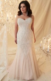 blushing Sweetheart Beaded plus size wedding dress With Sweep Train And Lace up