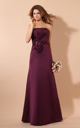 Satin Ruched Ruffle Floor-Length Magnificent Gown