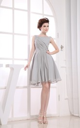 Short-Midi Ruched Sleeveless Bateau-Neckline Dress