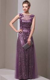 Sheath Floor-length Bateau Sleeveless Tulle Dress with Beading
