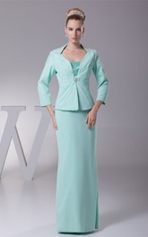 Long Sleeve Sheath Beaded Mother of the Bride Dress With jacket