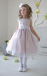 Beaded Layers Tea-Length Slit-Front Sequined Flower Girl Dress