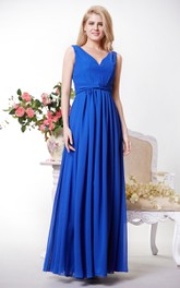 Pleated Waist Knot V-Neckline High-Waist Chiffon Gown