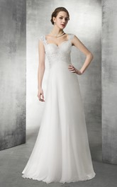 Queen Anne Sweetheart Ruched Empire Wedding Dress With Keyhole And Appliques