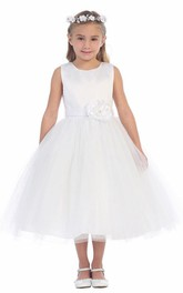 Tulle Embroidery 3-4-Length Floral Flower Girl Dress