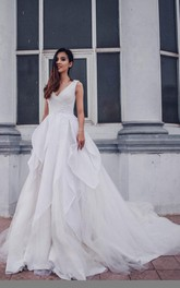 Plunged V-neck Sleeveless A-line Ball Gown With Corset Back And Chapel Train
