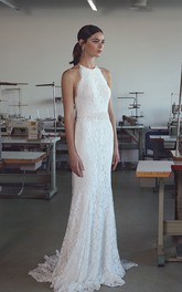 Ethereal Lace Halter Neck Sleeveless Long Wedding Dress