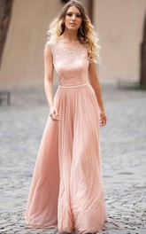 Straps Scoop Chiffon Sleeveless Floor-length A Line Evening Dress