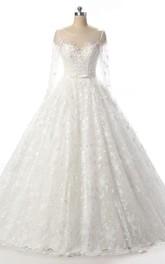 Lace Illusion Backless Long-Sleeve Bridal Dress