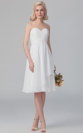 Sweetheart Criss-cross ruched cocktail Knee-length Bridesmaid Dress