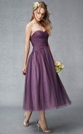 Sweetheart Criss cross Tea-length Tulle Bridesmaid Dress