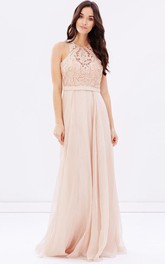 High Neck Sleeveless Chiffon Floor-length Dress With Appliqued top