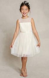 Bowknot Sleeveless A-Line Tulle Flower Girl Dress