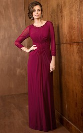 Scoop-neck Long Sleeve Illusion Mother of the Bride Dress With central Ruching